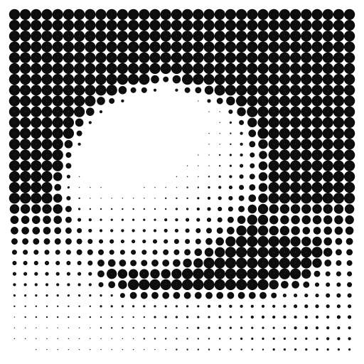 A raytraced scene is rendered by drawing (a lot) of circles with increasing radius for each pixel. The amount of circles depends on the brightness of the corresponding circle.  #raytracer #pixels #rays