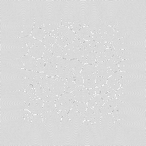 A quick experiment to visualize a 2D Signed Distance Field (SDF) using the Contour Lines utility code from https://turtletoy.net/turtle/104c4775c5  For more 2D SDF functions see: https://www.iquilezles.org/www/articles/distfunctions2d/distfunctions2d.htm  #contourlines #sdf #signeddistancefields