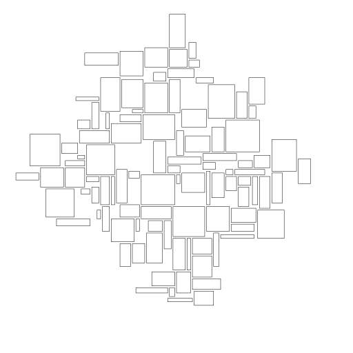 "There are x amount of rectangles. Each iteration they are moved towards one or more attraction points until they collide with some other rectangle. The more iterations, the more likely they will ""fit"" better. There's also an option to allow variance in sizing to create some interesting outputs.  Note; if sizes are set too high and there are too many rectangles, it wont resolve pretty."