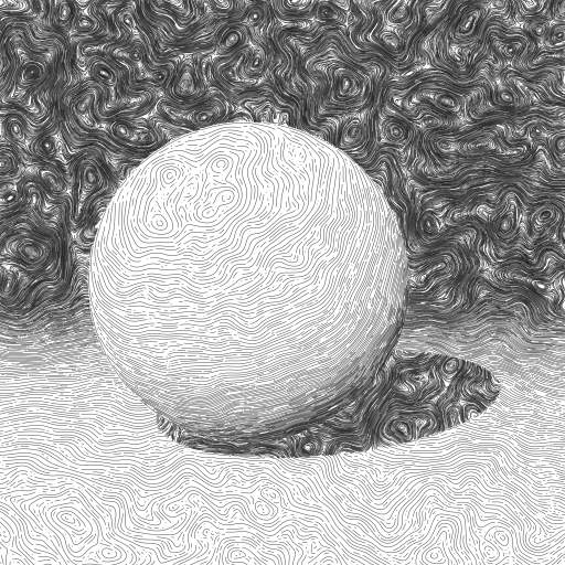 Raytraced sphere visualised using the 'curl noise' from https://turtletoy.net/turtle/740f09b88c  #raytracer #pixels #rays #curl #noise