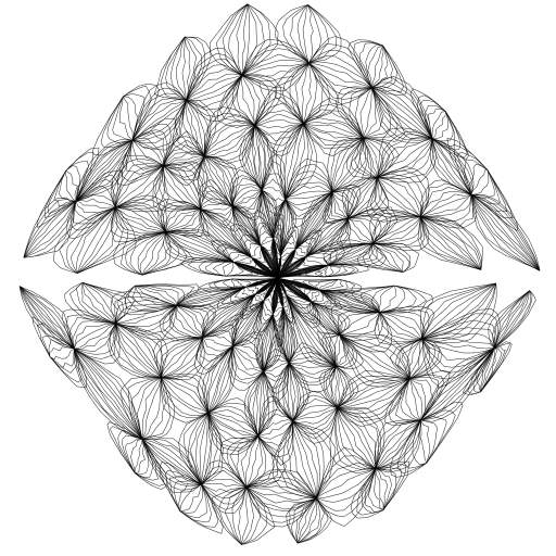 Forked from: Onions have layers 🐸 https://turtletoy.net/turtle/3b2af756c2  Converted to a Tortoise, added a additional transform (effect) to make it look bit like fractal-ish flower. other than that it is still same thing as the fork.