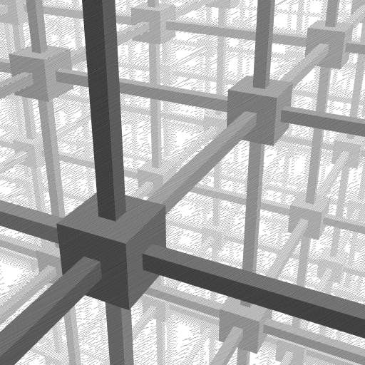Based on Cubic space division by Escher: https://www.wikiart.org/en/m-c-escher/cubic-space-division.   #polygons #3D #Escher