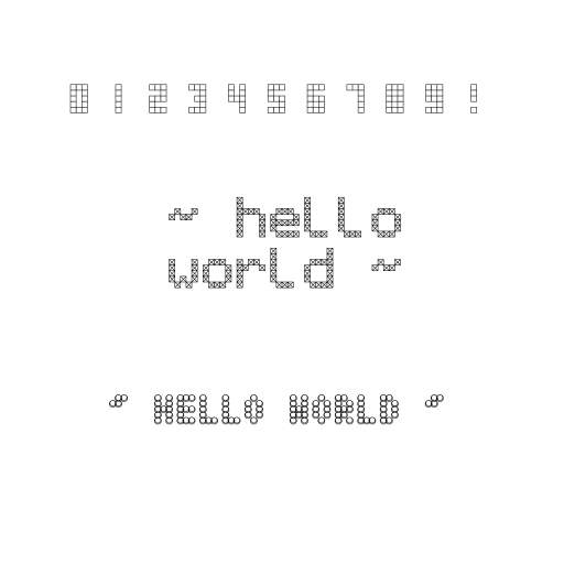 A bitmap font based text utility that can be used to print text to the screen.  I added two bitmap fonts (tiny/normal) based on some images in some own format.  The letter- and line spacing can be set in the constructor.   There's a function to iterate over the pixels of the font to do custom stuff with it, like the third text does.  Kinda follows same API as https://turtletoy.net/turtle/1713ddbe99  #text #font #utility