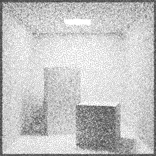 Path tracer code from https://turtletoy.net/turtle/50b8079a52 combined with the 'circle packing dithering' from https://turtletoy.net/turtle/7367ba3a0c.  #raytracer #pixels #rays #dithering