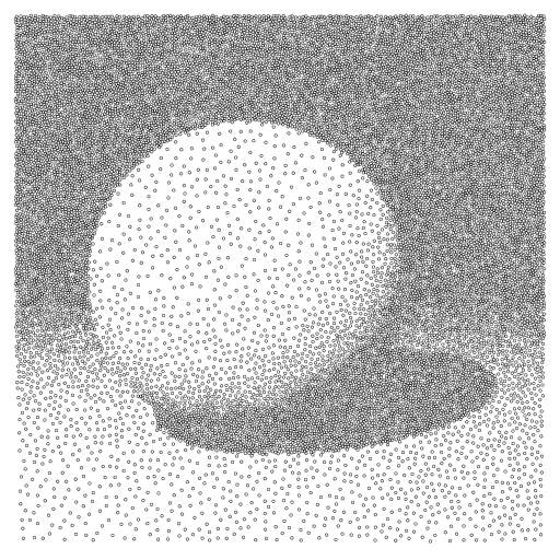 I have combined the raytraced scene of https://turtletoy.net/turtle/11075dfee0 with the circle-packing algorithm of https://turtletoy.net/turtle/f9915c1d89 to get some sort of dithering.  #raytracer #pixels #rays #dithering