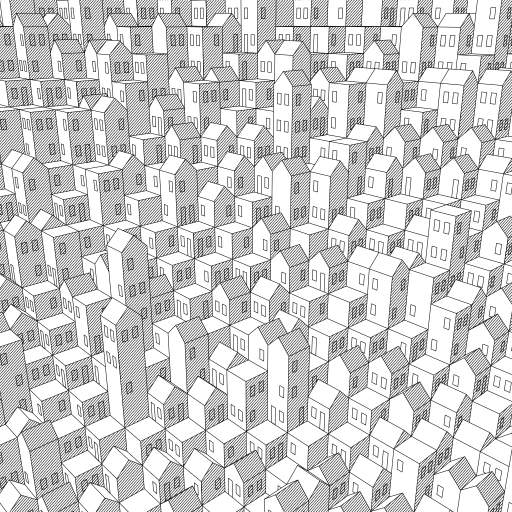 A first experiment to draw a procedural city of cubic building blocks. The city will be different each reload / re-compile. Try out different options by changing the settings at the top of the code.  In a next turtle, I will clean up and optimize the code and add more variety to the buildings.  #city #polygons #3D