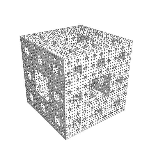 Menger Sponge fractal. I use a slightly modified version of the https://turtletoy.net/turtle/d9ae1fb0bd to collect all partially visible faces of the fractal. A bounding box is added to speed up rendering a bit.  #voxels #fractal #MengerSponge