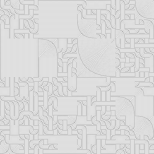 Bezier curves are used to generate multi-scale quad or double quad Truchet tiles. Inspired by @revdancatt: https://twitter.com/revdancatt/status/1410268274009456642  Variation: https://turtletoy.net/turtle/913672c491#type=1,minDepth=2,maxDepth=5,subDivChange=0.5,numLines=1,curviness=1  #truchet #bezier