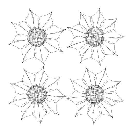 Generating some flowers  Interesting variant:  - https://turtletoy.net/turtle/94da0cb45d#grid=2,flowerSize=25,totalHatch=101,innerSize=0.89,totalLeaves=9,leafSize=1.52,leafDetail=20,innerLeafLines=0.5,randomize=0.024
