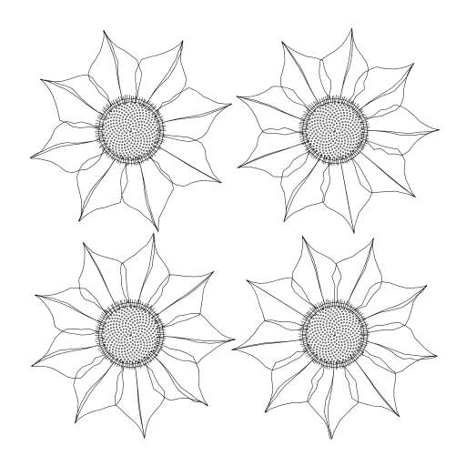 Generating some flowers  Collect as nft here https://hic.link/150958  Interesting variant:  - https://turtletoy.net/turtle/94da0cb45d#grid=2,flowerSize=25,totalHatch=101,innerSize=0.89,totalLeaves=9,leafSize=1.52,leafDetail=20,innerLeafLines=0.5,randomize=0.024