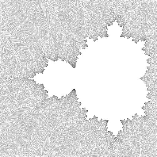 I am just forking the awesome turtles of @llemarie https://turtletoy.net/turtle/48b30c6521  This one uses the smooth Mandelbrot iteration count formula: https://www.iquilezles.org/www/articles/mset_smooth/mset_smooth.htm  I made some changes to the PoissonDiscGrid (using a queue), so I could improve precision without getting incorrect self-intersection tests.   #fractal #mandelbrot