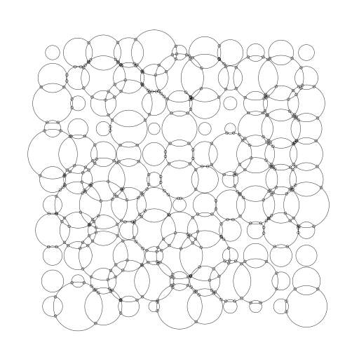 Collisions of circles on a grid