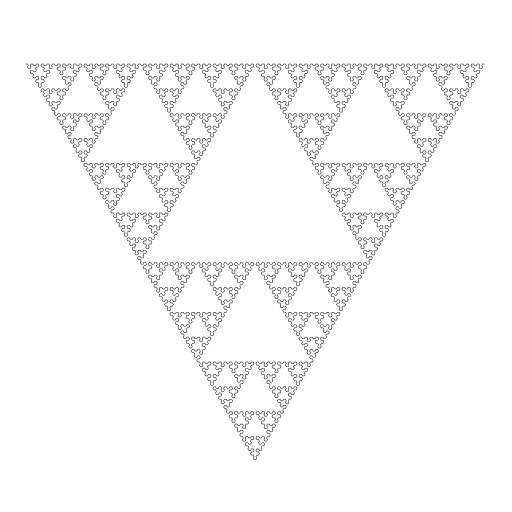 https://en.wikipedia.org/wiki/L-system#Example_5:_Sierpinski_triangle  #fractal #lsystem