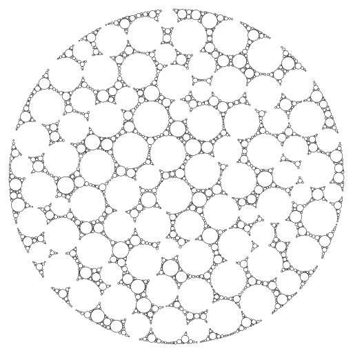 A probably pretty naive way of circle packing. Circles with a radius > hide_radius are not drawn.  #packing